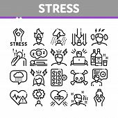 Stress And Depression Collection Icons Set Vector Thin Line. Anti Stress Pills And Alcoholic Drink B poster