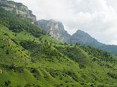 High Altitude Idyllic Alpine Landscape In Summer. poster