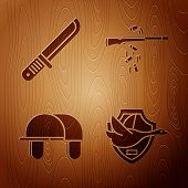 Set Flying Duck On Shield, Hunter Knife, Hunter Hat And Gun Shooting On Wooden Background. Vector poster