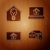 Set Smart House And Light Bulb, Smart House And Light Bulb, Laptop With Smart House And Light Bulb A poster