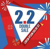 Sale Banner Template Design, 2.2 Double Sale Vector Illustration. Eps 10 poster