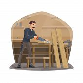 Carpenter Profession, Carpentry Woodwork Tools. Vector Carpenter Man In Workshop Standing And Sawing poster