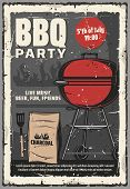 Barbecue Summer Party Vintage Retro Poster, 5 July American Holiday Cookout Party. Vector Bbq Charco poster