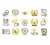 Set Of Awards Vector Icons.  Glory Shield, Prize Winner, Rank Star, Outline Icon Design. poster