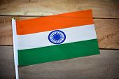 India Flag On Old Wooden Background. National Flag Of India poster