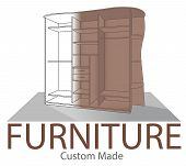 Furniture Shop Label. Custom Made Closet. Store Badge In Modern Style. Home Interior Symbol. Opened  poster