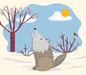 Winter Landscape With Animal Grey Wolf Howling In Forest With Trees And Bushes. Bullfinch Bird And W poster