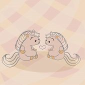 Color Vector Illustration Of Animal Horses And Ponies For Valentine Day, Couples In Love On The Back poster