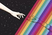 Reaching Hands And Rainbow In Space. Gay Pride. Romantic Lgbt Concept. Rainbow Colored Hand. Abstrac poster