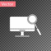 White Computer Monitor Diagnostics Icon Isolated On Transparent Background. Adjusting App, Service,  poster