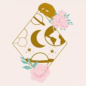 Vector Illustration With Golden Celestial Elements, Geometrics And Flowers poster
