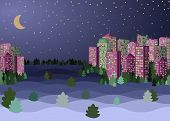 Evening Crescent And Stars, City Downtown Landscape, Snow Covered Skyscrapers. Flat Vector Illustrat poster