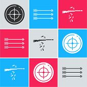 Set Target Sport For Shooting Competition, Hipster Arrows And Gun Shooting Icon. Vector poster