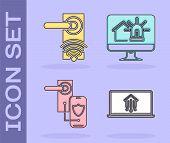 Set Laptop With Smart Home, Digital Door Lock With Wireless Technology For Unlock, Digital Door Lock poster