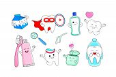 Cute Cartoon Tooth Character With Mouthwash, Toothbrush, Toothpaste, Dental Floss And With Dental Ca poster