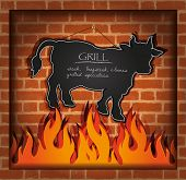 vector blackboard cow bull fireplace grill