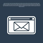 Blue Line Mail And E-mail Icon Isolated On Blue Background. Envelope Symbol E-mail. Email Message Si poster