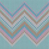 Yarn Zig Zal Lines Knitting Texture Geometric Vector Seamless. Jacquard Knitwear Structure Imitation poster