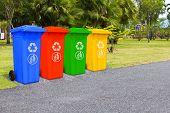 Four Color Trash Cans