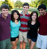 Group of Multi-ethnic teenagers outside