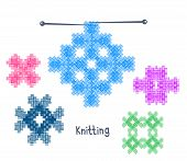 Knitwear On A White Background. Knitted Ornament. Vector Illustration. poster