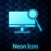 Glowing Neon Computer Monitor Diagnostics Icon Isolated On Brick Wall Background. Adjusting App, Ser poster
