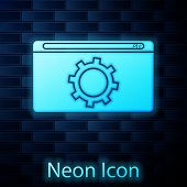 Glowing Neon Setting Icon Isolated On Brick Wall Background. Adjusting, Service, Maintenance, Repair poster