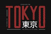 Tokyo The Capital Of Japan T-shirt Design With Rising Sun. Apparel Print. Typography Graphics With I poster