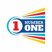Number One Badge Logo Design. Colorful Graphic Sign. Number One Vector Illustration. poster