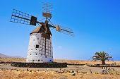 antiguo molino de viento en El Cotillo, Fuerteventura, Islas Canarias, España
