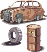 pic of dingy  - Old broken rusty car rusty oil barrel and used obsolete tire with a dirty stains - JPG