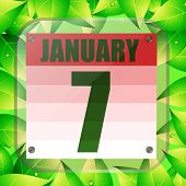 January 7 Icon. Calendar Date For Planning Important Day With Green Leaves. January 7th. Banner For  poster