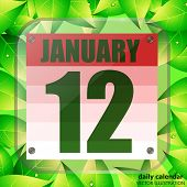 January 12 Icon. Calendar Date For Planning Important Day With Green Leaves. January 12th. Banner Fo poster
