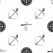 Set Target Sport For Shooting Competition, Gun Shooting And Bow And Fire Arrow On Seamless Pattern.  poster