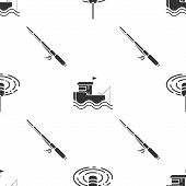 Set Fishing Float In Water, Fishing Boat With Fishing Rod On Water And Fishing Rod On Seamless Patte poster
