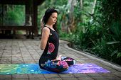 Yoga Practice And Meditation In Nature. Woman Practicing Near River. poster