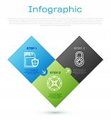 Set Line Sd Card And Shield , Safe Combination Lock Wheel And Safe . Business Infographic Template.  poster