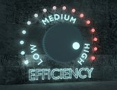 Efficiency Level Adjust Between Low And High. Regulator With Neon Shine Scale. 3d Rendering poster