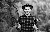 Fishing In My Hobby. Handsome Guy In Checkered Shirt With Fishing Equipment Nature Background. Summe poster