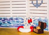 Table Decoration On A Childrens Holiday Childrens Party In The Marine Theme poster
