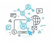 Social Media Vlog. Virtual Communication Smartphone. Cooperation Interaction. Vector Illustration Ep poster