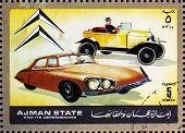 Selos Ajman 1972 Citroen, carros, então e agora
