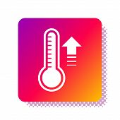 White Meteorology Thermometer Measuring Heat And Cold Icon Isolated On White Background. Thermometer poster