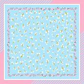Beautiful Floral Vector Ornament. Card, Bandana Print, Kerchief Design, Napkin. Ready For Print. Blu poster