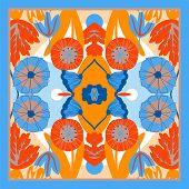 Autumn Colors Retro Floral Print. Silk Scarf Vector Graphics. Card, Bandana Print, Kerchief Design,  poster