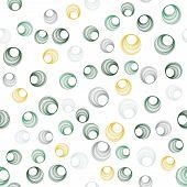 Modern Green Circle Rings Textile Print. Round Shape Geometric Elements Vector Seamless Pattern. Cir poster