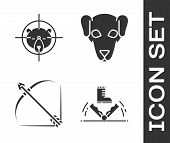 Set Trap Hunting, Hunt On Bear With Crosshairs, Bow And Arrow In Quiver And Hunting Dog Icon. Vector poster