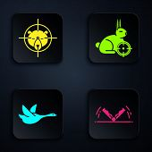 Set Trap Hunting, Hunt On Bear With Crosshairs, Flying Duck And Hunt On Rabbit With Crosshairs. Blac poster