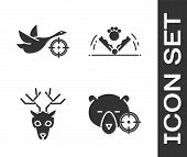 Set Hunt On Bear With Crosshairs, Hunt On Duck With Crosshairs, Deer Head With Antlers And Trap Hunt poster