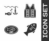 Set Fish, Fishing Hook Under Water With Fish, Fish Trophy Hanging On The Board And Fishing Jacket Ic poster